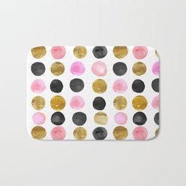 Chic Painted Circle Pattern - Black, Gold, Pink Bath Mat