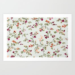 floral vines - neutrals Art Print