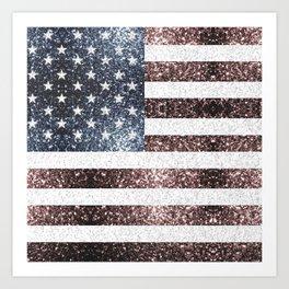 Rustic Red White Blue Sparkles USA flag Art Print