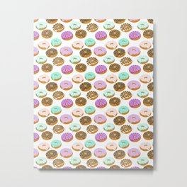 Donuts - junk food treat funny illustration with happy food face doughnuts pastry bakery Metal Print