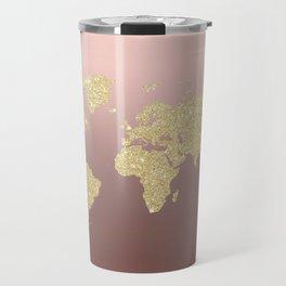Gold Glitter on Rose Gold World Map Art Travel Mug