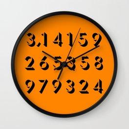 Pi - 3,14 -Orange Wall Clock