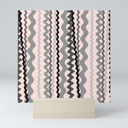 Black and Grey hand drawn vertical stripes on pink - Mix & Match with Simplicity of Life Mini Art Print