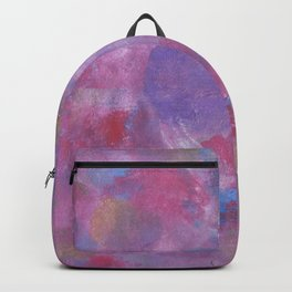 Abstract background with bright multicolored watercolor spots, paint strokes, scuffs, stains Backpack