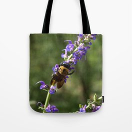 Bumble Bee on purple Tote Bag