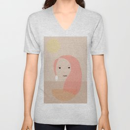 Minimal girl within three colours Unisex V-Neck