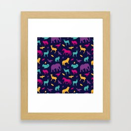 Colorful Wild Animal Silhouette Pattern Framed Art Print