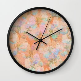Peach Watercolor Orchids Wall Clock