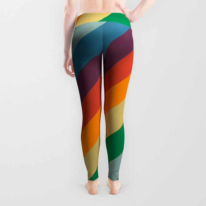 Retro Rainbow Stripes Leggings
