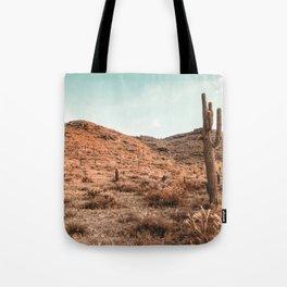 Saguaro Mountain // Vintage Desert Landscape Cactus Photography Teal Blue Sky Southwestern Style Tote Bag