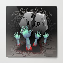 Zombie Hands on Cemetery Metal Print