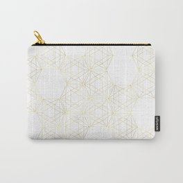 Golden Geometric Grids Carry-All Pouch