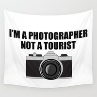 photographer Wall Tapestries featuring Photographer Tourist Funny by bitobots