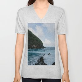 Cliffside Ocean View Unisex V-Neck