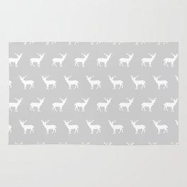 Deer pattern minimal nursery basic grey and white camping cabin chalet decor Rug
