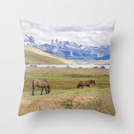Torres del Paine - Wild Horses Throw Pillow