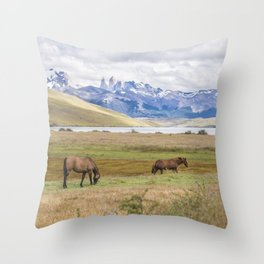 Torres del Paine - Wild Horses Throw Pillow