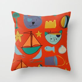 cat and bear pirate red Throw Pillow
