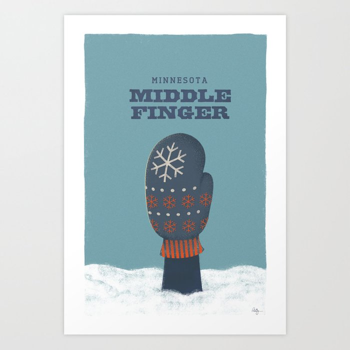 Minnesota Middle Finger Art Print