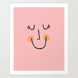 Winky Smiley Face in Pink Art Print