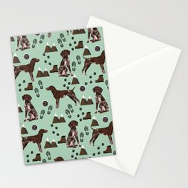 German Shorthair Pointer mountain hiking hiker outdoors camping dog breed Stationery Cards