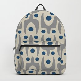 Mid Century Modern Abstract Pattern 149 Gray and Blue Backpack
