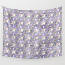 Roses & Forget Me Nots Polka Dotted Puple Wall Tapestry