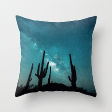 BLUE NIGHT SKY MILKY WAY AND DESERT CACTUS Throw Pillow