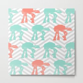 Turquoise and Coral AT-AT's and Chevrons Metal Print