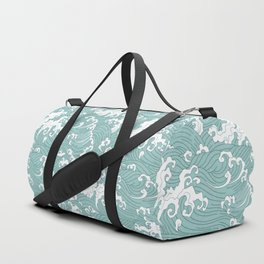 Traditional Hand Drawn Japanese Wave Ink Duffle Bag