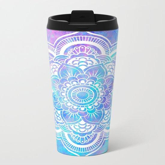 Mandala Pink Lavender Aqua Galaxy Space Metal Travel Mug