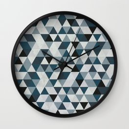 Sea Blue and Grey / Gray - Hipster Geometric Triangle Pattern 02 Wall Clock