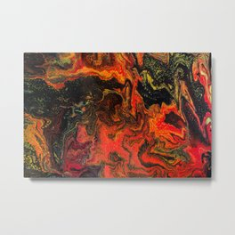Fluid Art Acrylic Painting, Pour 10, Black, Red, Yellow & Orange Blended Color Metal Print