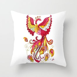 Watercolor Firebird Phoenix Fantasy Bird with Red Pink Yellow Feathers Throw Pillow