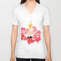 hibiscus V-neck T-shirts featuring Hibiscus by Regan's World