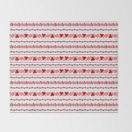 Ethno Ukrainian Pattern - Grape Guelder rose Oak - Symbol Throw Blanket