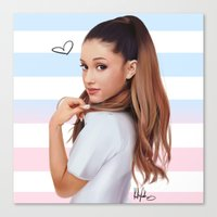 ariana grande Canvas Prints featuring Ariana  by kelsey cooke art