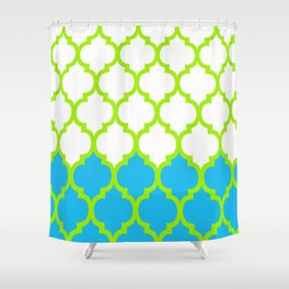 Moroccan Green and Blue Shower Curtain
