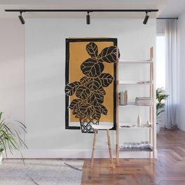 Fiddle Leaf Fig Block Print (Orange) Wall Mural