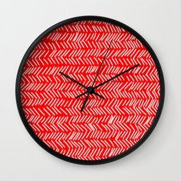 Scarlet Herringbone Lines Wall Clock