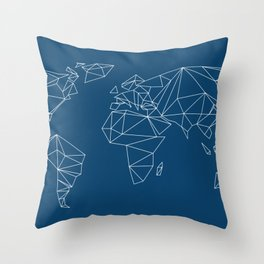 geo world map indigo blue Throw Pillow