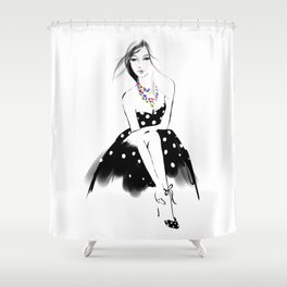 Polka Dot Dress Shower Curtain