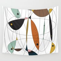fishing Wall Tapestries featuring Fishing net by FLATOWL