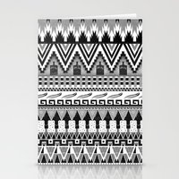 whisky Stationery Cards featuring WHISKY AZTEC B/W  by Kiley Victoria