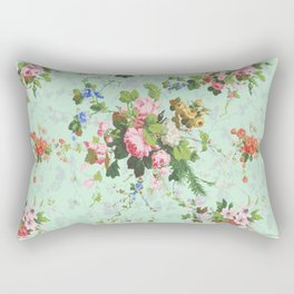 Antique romantic vintage 1800s Victorian floral shabby rose flowers pattern aqua mint hipster print Rectangular Pillow