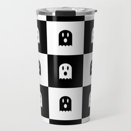 Cute Scary Ghost Checkered Pattern Travel Mug