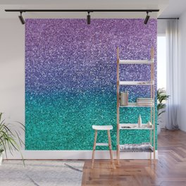 Lavender Purple & Teal Glitter Wall Mural