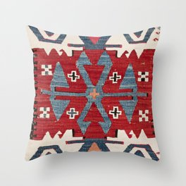 Blue Diamond Arrow Konya II // 19th Century Authentic Colorful Red Cowboy Accent Pattern Throw Pillow