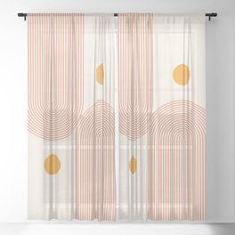 Abstraction_SUN_DOUBLE_LINE_POP_ART_Minimalism_001C Sheer Curtain