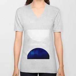 white & cobalt Unisex V-Neck